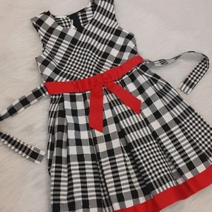 Bonnie Jean Red/Blk/White Plaid Dress Sz 7